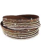 caripe Damen Armband Wickelarmband Glitzer Steine viele Designs + Farben - strala (Modell 1 - braun)