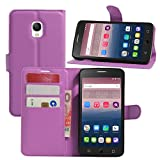 HualuBro Alcatel OneTouch Pop Star Hülle, Premium PU Leder Leather Wallet HandyHülle Tasche Schutzhülle Flip Case Cover für Alcatel One Touch Pop Star 3G 5022D (Violett)