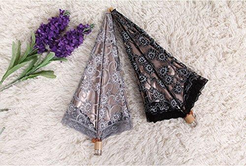waygo Damen Regenschirm Spitze Sonnenschirm Taschenschirm Sonnenschutz - Lace Sonnenschirm Black