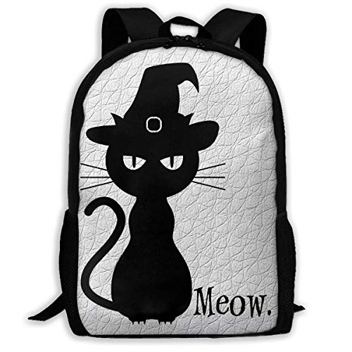 (Funny Black Cat Halloween Printed Backpack Waterproof Canvas Travel Bags for Men and Women)