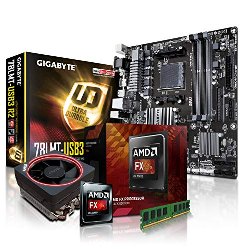 PC Aufrüstkit AMD, FX-8350 8x4.0 GHz, 8GB DDR3, Radeon HD3000-1GB, Mainboard Bundle, Tuning Kit, fertig montiert, Spiele Office (Amd-prozessor-kit)
