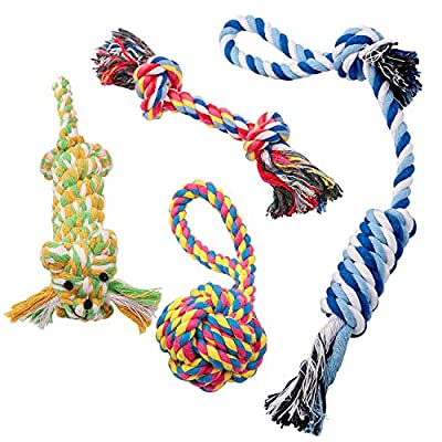 Dog Rope Toy Tug chew - Set Of 4 Durable Thick Cotton Tugging Biting Rope Chewing Toys For Small and Medium Dogs