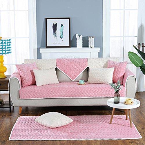 Dw&hx breve peluche copertura divano trapuntato fodera per divano copridivano copertine componibile multi-size antiscivolo antimacchia colore puro sofa protettore mobili coperture per salotto -rosa cuscino 45x45cm(18x18inch)