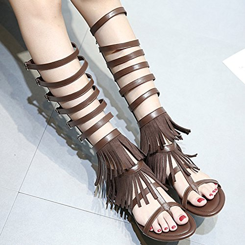 Azbro Women's Hollow out Buckle Flat Heels Gladiator Sandals Brown