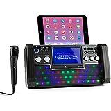 """auna DiscoFever Equipo de karaoke Bluetooth (pantalla LED 7"""", reproductor CD USB MP3, micrófono, función de grabación) - negro"""