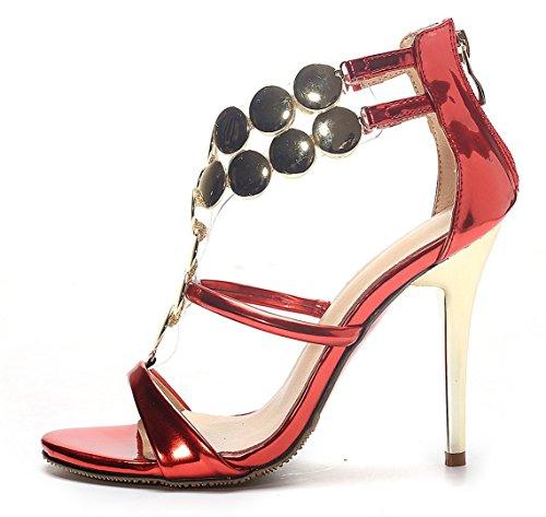 YE , Escarpins peep-toe femme Rouge - Rouge