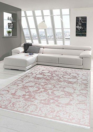 Merinos Vintage Teppich modern Wohnzimmerteppich Designteppich mit Fransen in Rosa Größe 200 x 290 cm