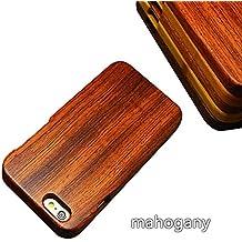 XingChuang Fashion Real Hecho A Mano Natural y sólida madera de bambú teléfono móvil. Carcasa para iPhone Carcasa de Protección para iPhone5–6SPlus, madera, Magogany, Iphone6/6s