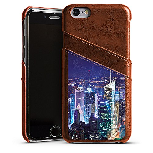 Apple iPhone 5s Housse Étui Protection Coque Ville Horizon Grande ville Étui en cuir marron