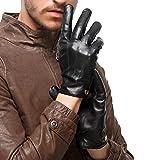 Nappaglo Herren klassische Lammfell Leder Handschuhe Touchscreen Reines Langes Fleecefutter Winter Warm Handschuhe (S (Umfang der Handfläche:bis zu 20.3cm), Schwarz(Touchscreen))