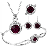 Silver Plated Cubic Zirconia Grapes Dark Purple Rhinestone Halo Pendant Necklace Bracelet Earrings Ring Jewelry Set, Best Christmas / Birthday Gift for Mother, Wife, Daughter, Girls