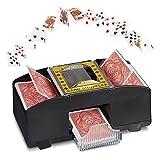 MonsterZeug Kartenmischmaschine elektrisch, Spielkarten Mischmaschine für 2 Decks, elektrischer Kartenmischer Kartenspiele, automatisches Kartenmischgerät für Poker Rommee Skat Karten