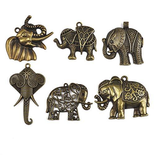 Suministros de artesanía elefantes mixtos encantos colgantes para la elaboración de resultados...