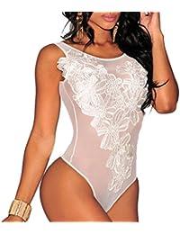 6f3a0e9c03 MYWY - Top Body Nero Donna Ricamo Floreale Trasparente Sottogiacca Bianco  Canotta