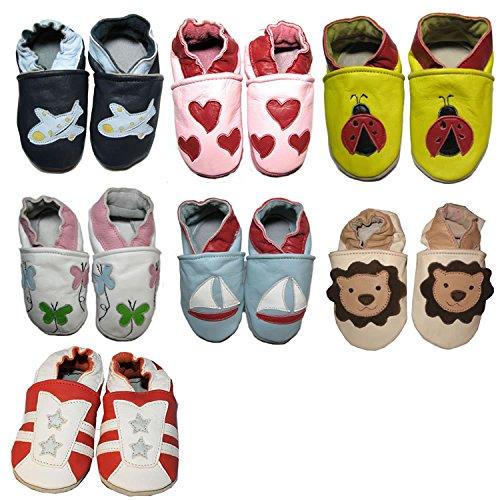 Krabbelschuhe, Babyschuhe, Hausschuhe, Puschen, GREENFOOT Gr. S(18/19)-XL(24/25) Herzen