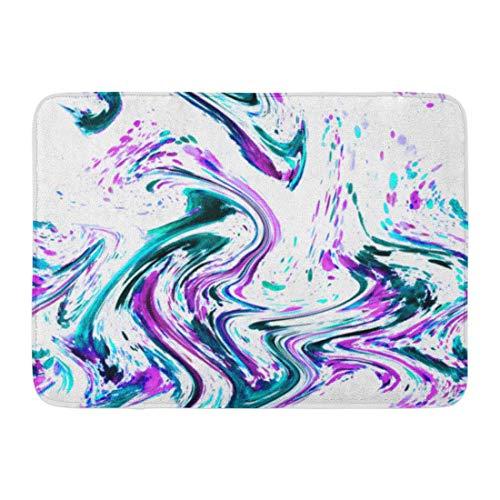 LIS HOME Fußmatten Bad Teppiche Outdoor/Indoor Fußmatte Bunte Achat abstrakte Aquarell Marmor Seide lila rosa grün blau Emerald Azure künstlerische Badezimmer Dekor Teppich Badematte -