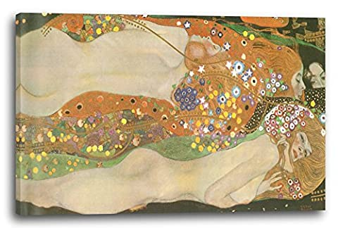Gustav Klimt - Water Serpants II (1904) (120 x 80 cm), Canvas print framed on wooden frame and ready to hang, high quality print made in Germany.