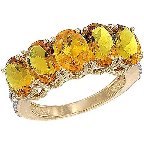 14ct oro amarillo citrino Natural 1 ct. 7 x 5 mm Oval 5-piedra anillo de madre con detalles en diamante, Tamaños J a T con medias