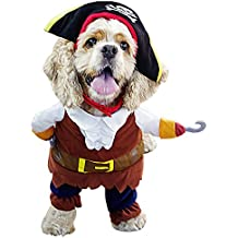Free Fisher Ropa Disfraz de Pirata para Perro Gato Traje con Sombrero para Animales Mascotas
