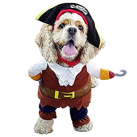 Amur Leopard Pet Dog Cat party Funny Costume Pirate Sailor Clothes with hat M