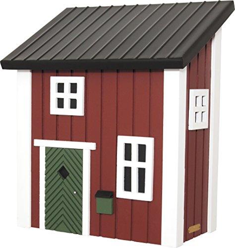 Verziehrter Briefkasten aus Holz in Form eines Hauses