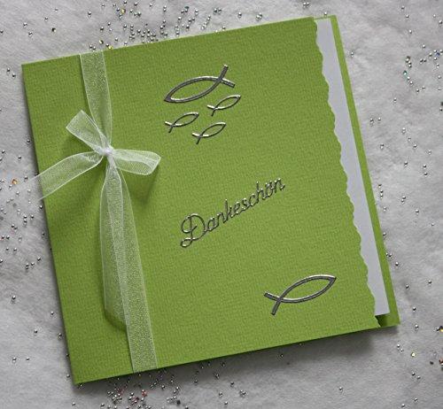 10 Danksagungskarten Danksagung incl. farblich passendem Umschlag maigrün A2015-D2