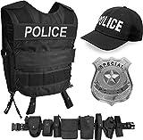 normani Police Kostüm bestehend aus Weste mit passendem Patch, Einsatz-Gürtel, Cap, US Abzeichen [XS - 6XL] für Damen und Herren Größe M/L