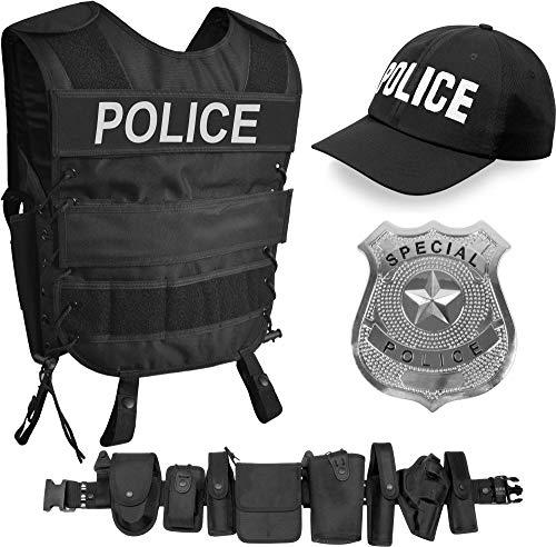 normani SWAT/Security/Police Kostüm bestehend aus Weste mit passendem Patch, Einsatz-Gürtel, Cap, US Abzeichen [XS - 6XL] Unisex Farbe Police Größe XL/XXL Swat Uniformen