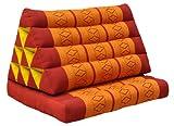 Cuscino triangolo Thai, esteso un cuscino piatto, pieghevole, fabbricato in Thailandia, Rosso/Arancione (81001)