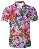 Loveternal Camicie Maniche Corte Camicie Flamingo Uomo Stampa 3D Funky T-Shirt Estiva Hawaiana Funny Shirt XXL
