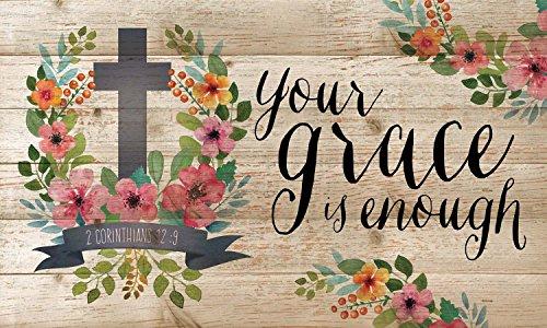 Your Grace ist genug 2Korinther 12: 9Floral Kreuz 9x 15Holz Lath Art Wand Schild Korinther Wandtattoo