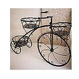 YYFANG Stand di Fiori Bicicletta da Terra Design Esterno Deposito Multi-Strato Balcone Giardino Soggiorno Supporto for Fiori Creativo, 2 Colori (Color : Black, Size : 78x22x55cm)