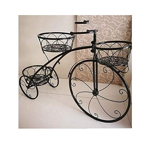 GZHENH Estantería De Flores Soporte De Exhibición Bicicleta 3 Capas Bajo En Carbon Protección del Medio Ambiente Durable Balcón Arte De Hierro, 2 Colores (Color : Negro, Tamaño : 98x22x55cm)