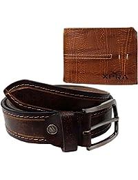 XPRA Genuine Brown Leather Belt & Brown Leather Wallet For Men/Boys Combo(Pack Of 2) - WL-BLT-24