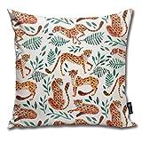 tyui7 Federa Gamma di Colori Arancione e Verde della Collezione di ghepardi Federe per Cuscini Decorativi Copridivano per Divano e Divano 45x45 cm