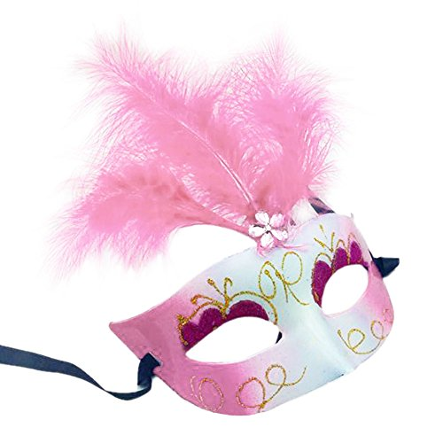 Cdet Kostüm Maske Kostüm Prinzessin JGemalte Federn Augen Maske Masquerade Mask für Halloween Maskentanzabend Party Foto Zubehör (Maskerade Maske Rosa Mit Federn Venezianischen)