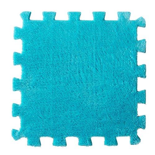 6 Pc EVA Eco Puzzle Teppich Mosaik Fliese Wohnzimmer Kissen Nachttisch Teppich kingko Umwelt Puzzle Teppich (Blau)