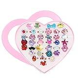 JUSTIDEA 36 Piezas Anillos Ajustables para Niñas Plastico Caja con Forma de Corazón de los Anillos Niña Joyas para Niños Anillos