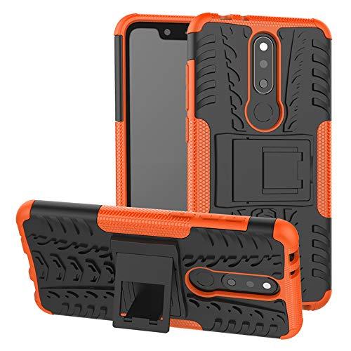 LFDZ Nokia 5.1 Plus Custodia, Resistente alle Cadute Armatura Robusta Custodia Shockproof Protective Case Cover per Nokia 5.1 Plus/Nokia X5 Smartphone{Not Fit Nokia 6.1 Plus},Arancione