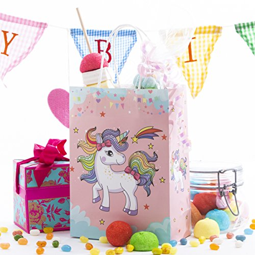 12 Pack Unicorn Kids Birthday Favor Party Bags, for Favors, Gifts, Candy, Goodies and Treats! Cute and Unique Design on All 4 Sides!