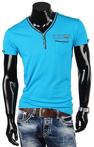 R-Neal Herren T-Shirt Poloshirt Hemd Slim Fit Japan Style Türkis