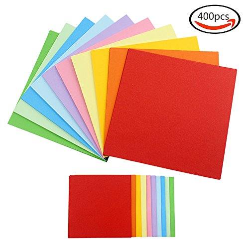 JPSOR 400 Stück Doppelseite Origami Papier Faltpapier (200 Blätter 6,3*6,3 Inch+ 200 Blätter 3,2*3,2 Inch )