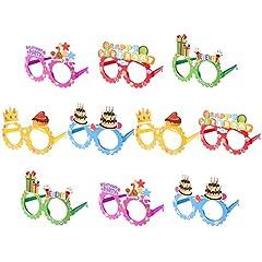 Idea Regalo - Toyvian Occhiali da Vista Happy Birthday Glasses 10 Pack Kids novità Occhiali da Vista Cornici Articoli per Feste di Compleanno Photo Booth Prop Regali per Feste di Festa