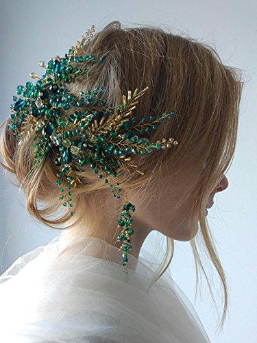 FXmimior Serre-tête de mariage en cristal avec feuilles de vert doré