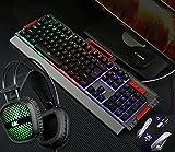 HUOFEINIAO Gaming Keyboard Maus Headset Dreiteilige Set Robotic Kabel Internet Cafe Internet Cafe Computer Desktop Set E-Sport-Spiel-Set,Black