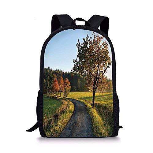 utumn Road at Sunset and Lone Tree Grass Field Forest Rural Scenery,Green Yellow Bluegrey Boy Girl School Backpack Mens Womens Sports Bag ()