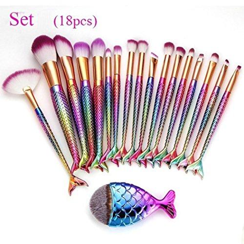 ESAILQ Ensemble de brosses de maquillage 18 Pièces Pinceaux Maquillage Brosse à maquillage en forme de sirène 3D Brosses à cosmétiques Ombre à paupières Eyeliner Blush Brushes (Multicolore)