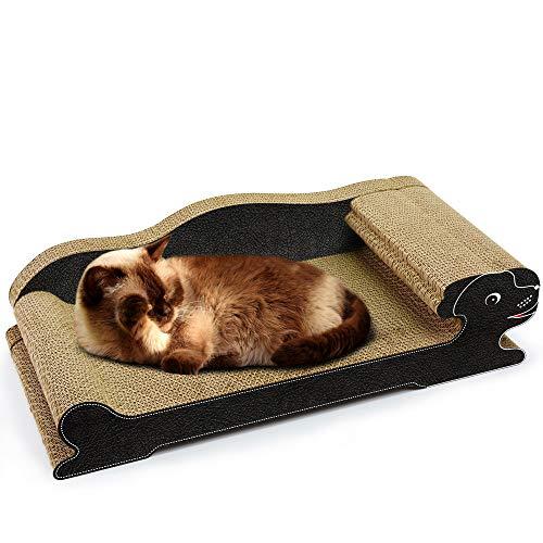 (DD Wellpappe Cat Scratch Board - Papier Cat Spielbrett - Katzenstreu Cat Bed Cat Tray - schwarzes Ledersofa)