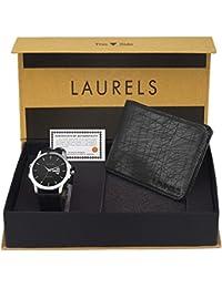 Laurels Black Combo of Men's Wallet & Watch