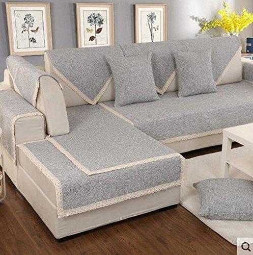 Yangyaya divano lino copertina,elegante e semplice,fodera cuscino multiuso antiscivolo divano,protettore di mobili decorativi stile nordico componibile-a 70x150cm(28x59inch)